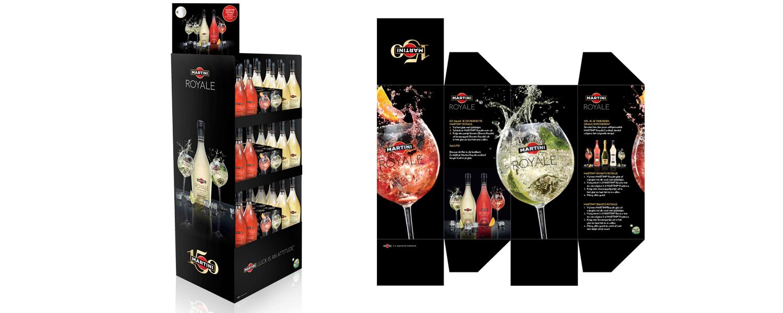 Martini Royale display en glasdoosjes